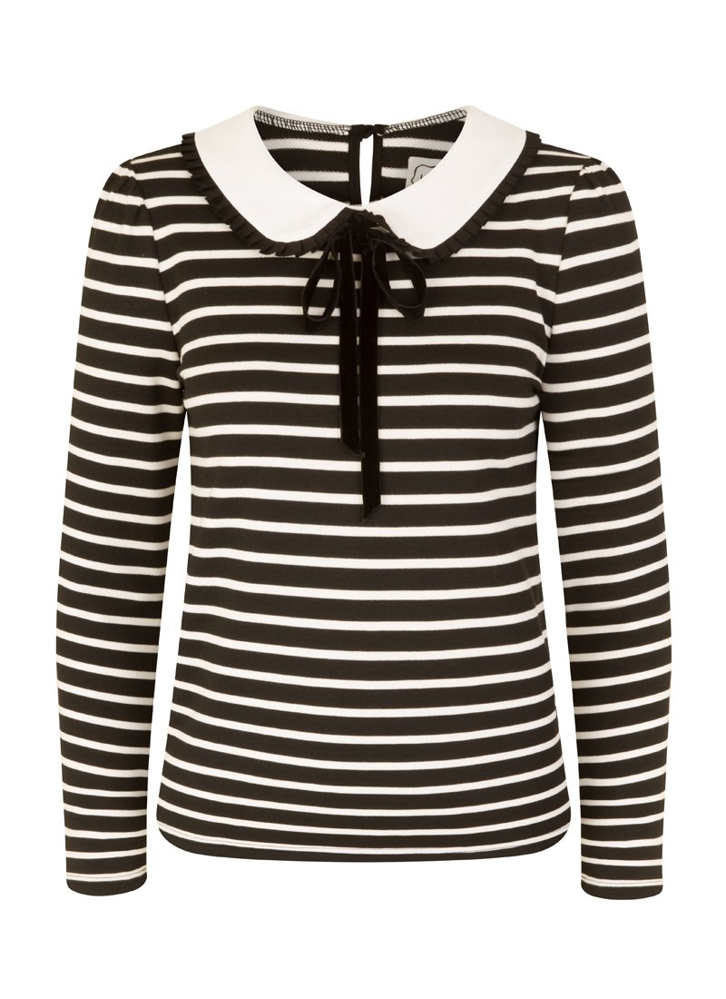 Sabrina Black and White Stripe Peter Pan Collar Top product front