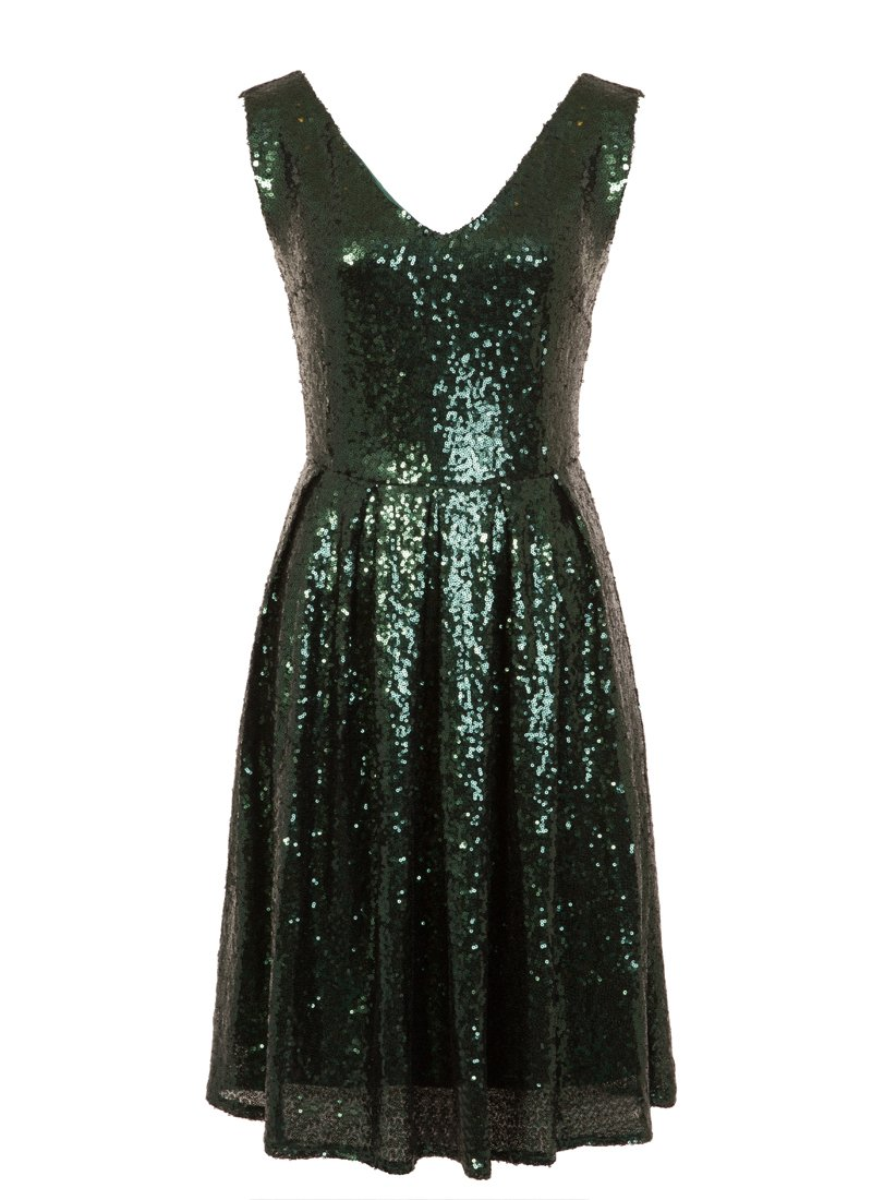 Uma Green Sequin Sleeveless Dress Product Front
