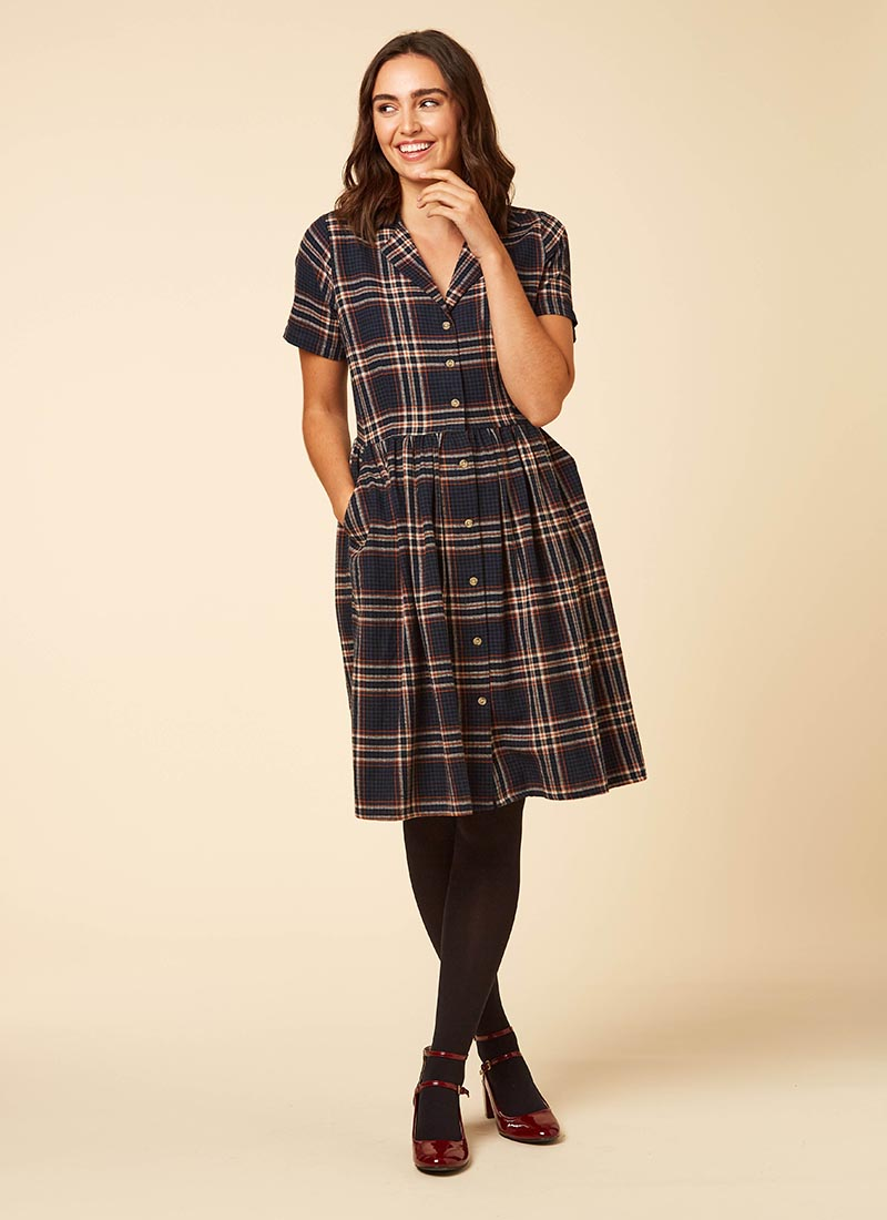 Pepper Check Flannel Shirt Dress Model Pocket