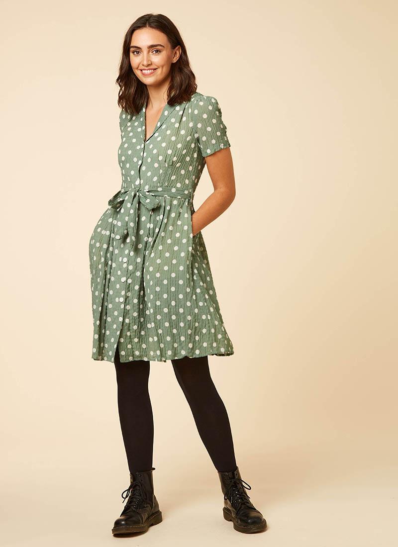 Barb Sage Green Polka Dot Tea Dress Model Front