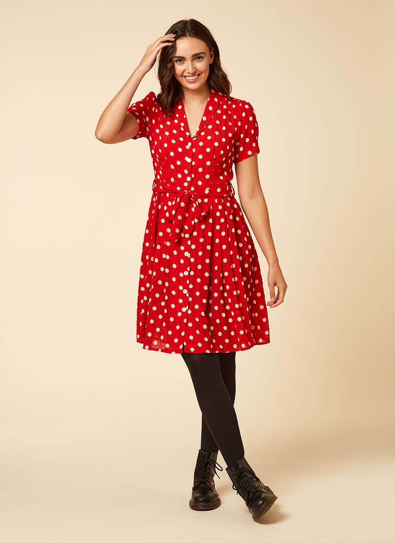 Barb Red Polka Dot Tea Dress Model Front