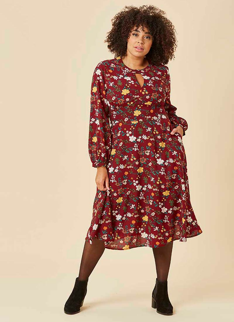 Abigail Floral Keyhole Neck Midi Dress Model Front