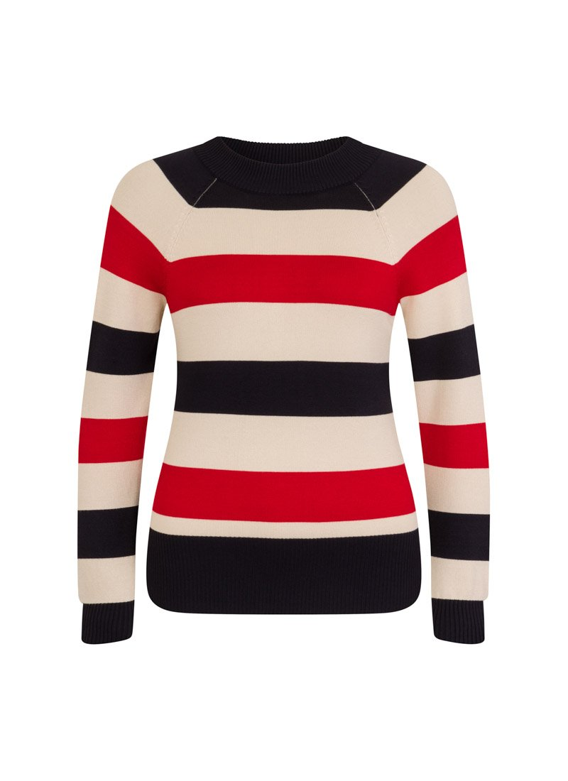 Agatha Bold Stripe Jumper Red Product Front