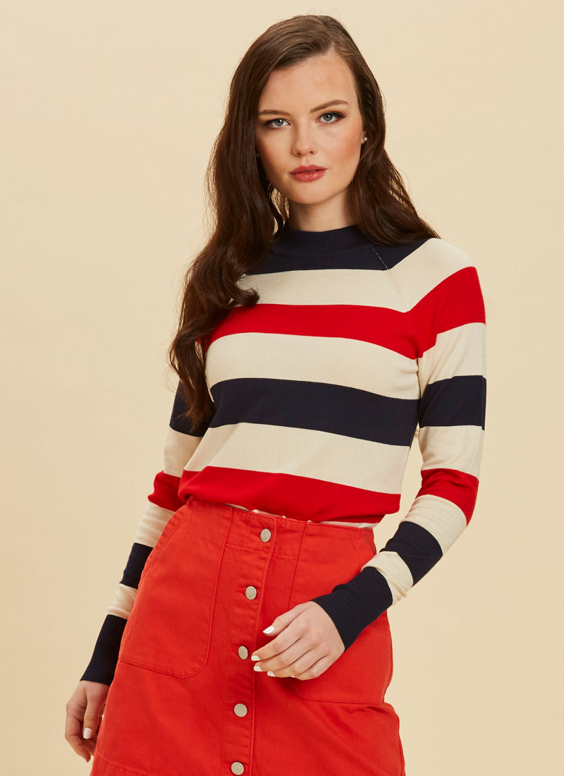 Agatha Bold Stripe Jumper Red Model Close-Up