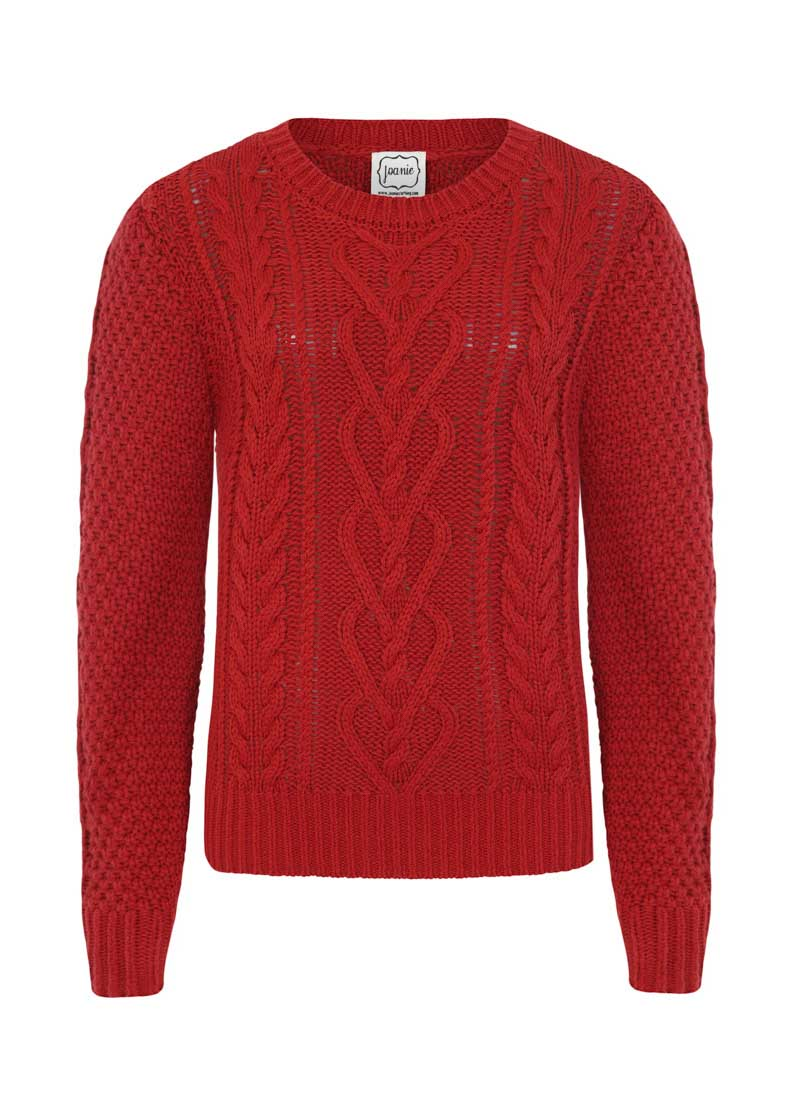 Alec Cable Knit Red Jumper Product Front