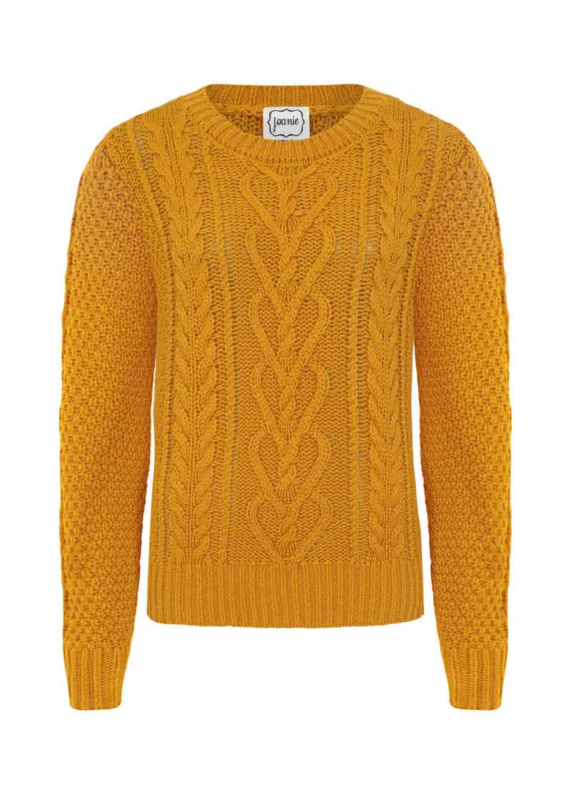 Alec Cable Knit Yellow Jumper Product Front