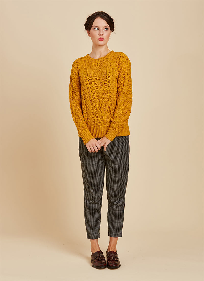 Alec Cable Knit Yellow Jumper Full Front View