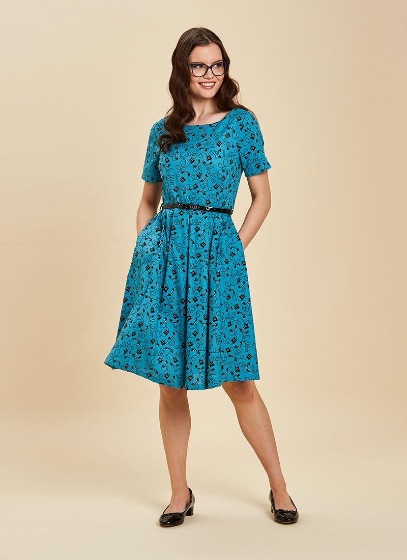 Alexandra Algiers Blue Tea Dress Full Front View