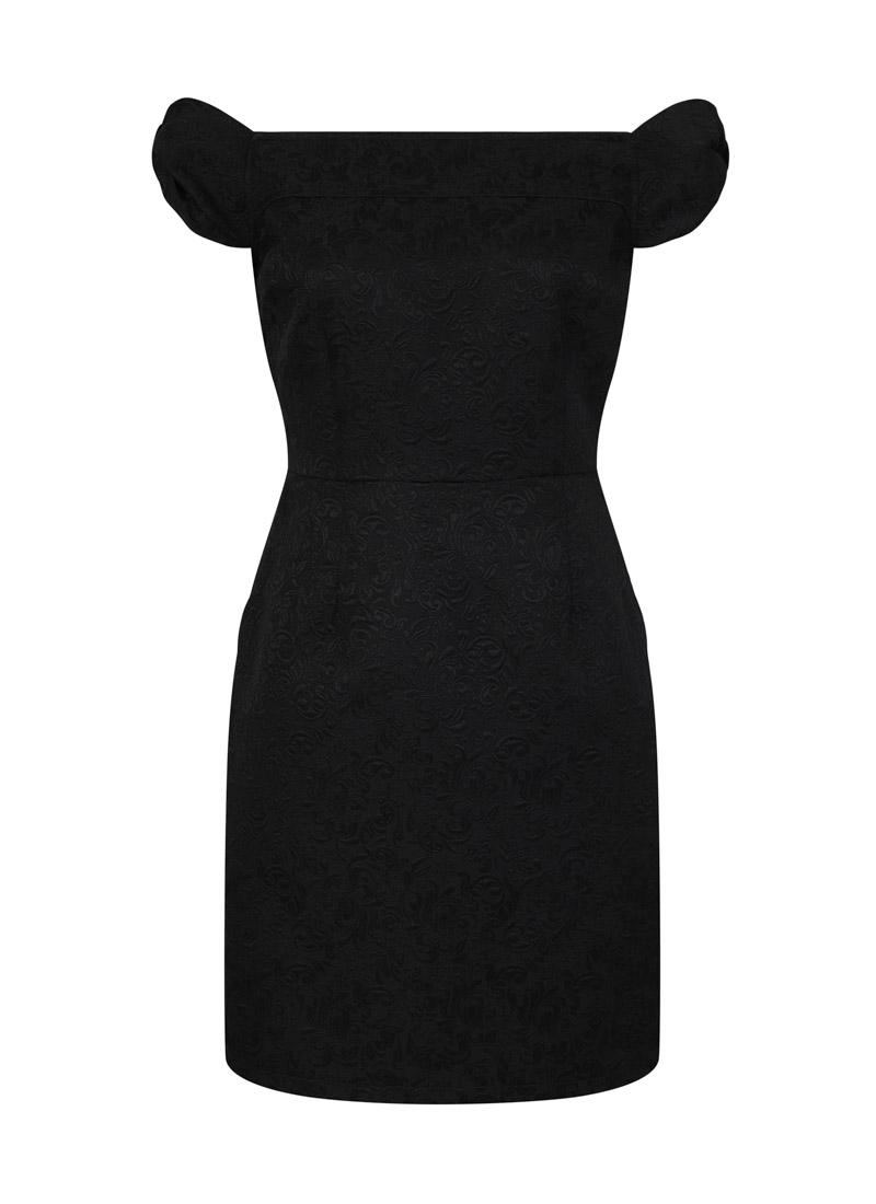Anais Black Jaquard Bardot Dress Product Front