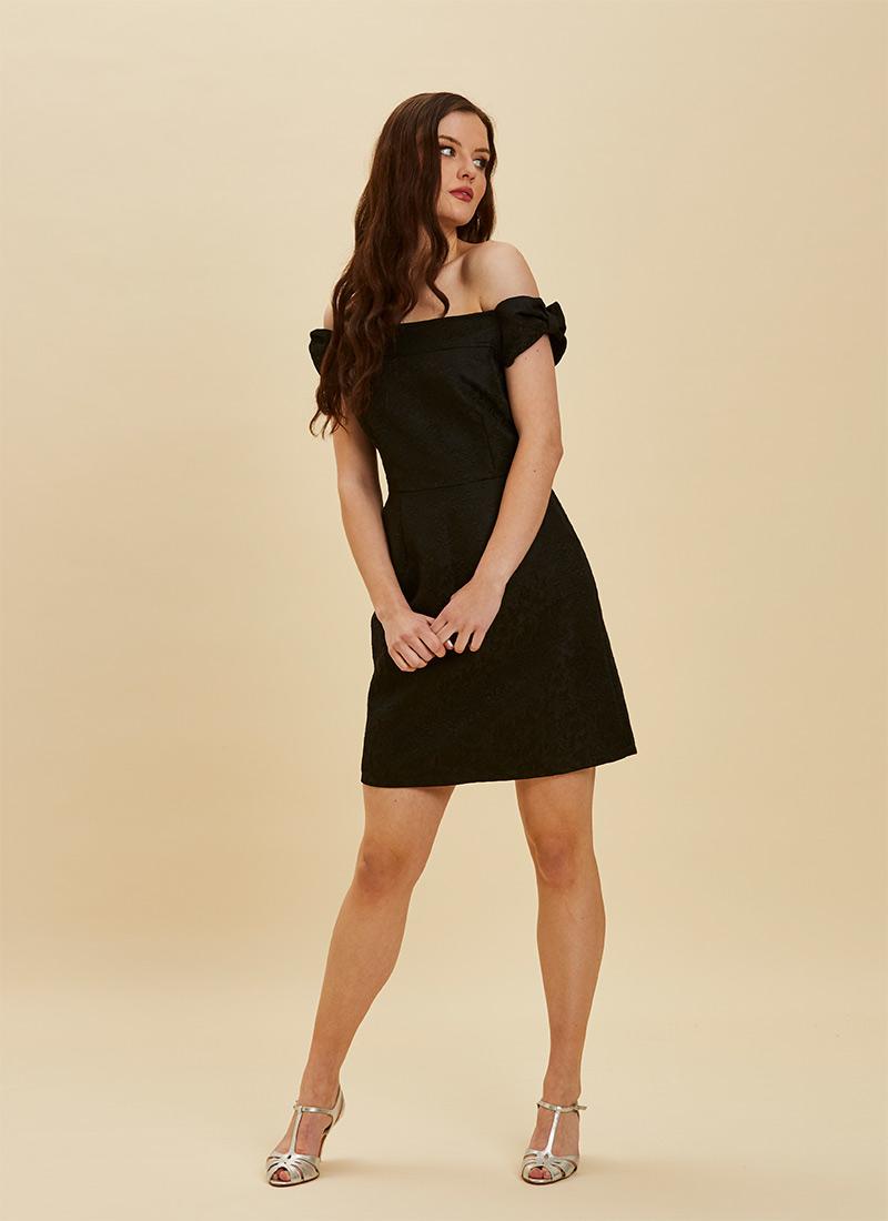 Anais Black Jaquard Bardot Dress Model Front