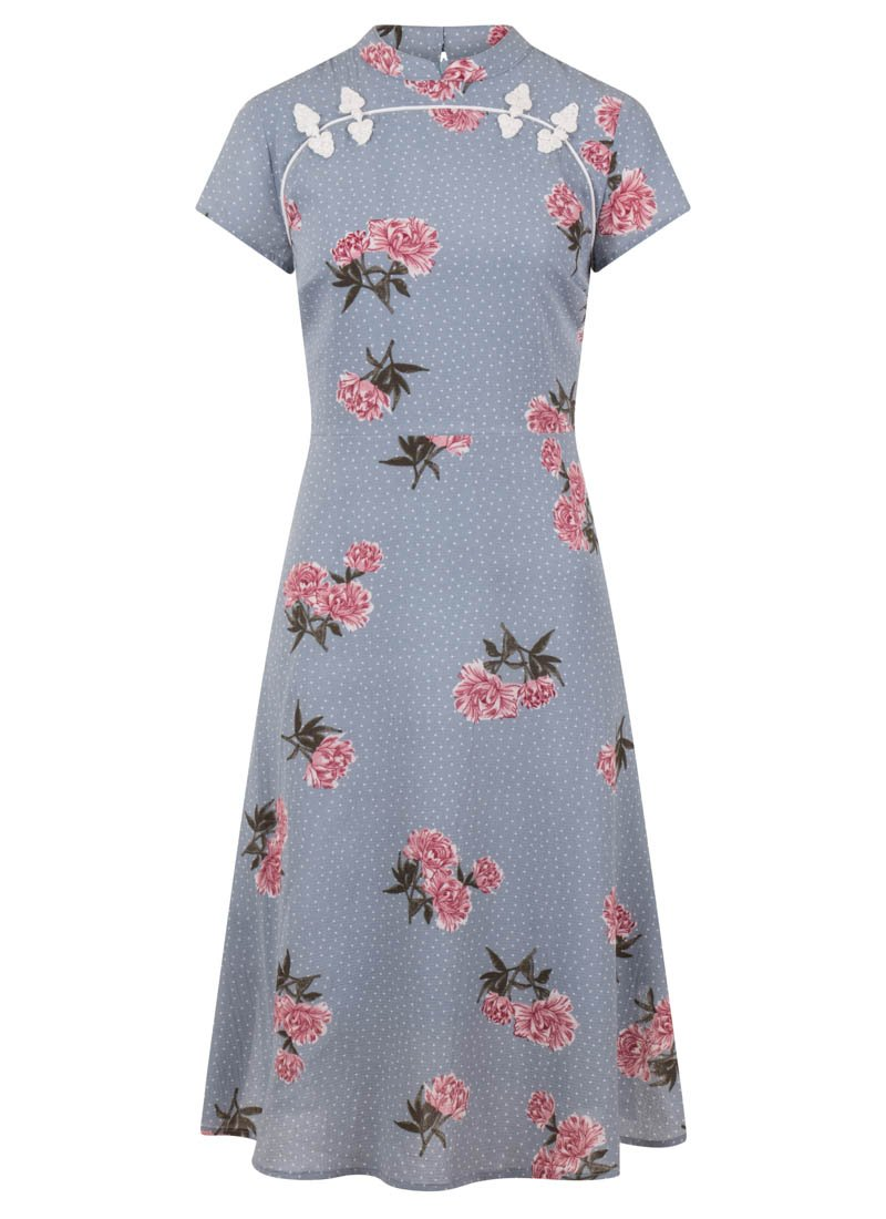 Anna-May Blue Oriental Floral Dress Product Front