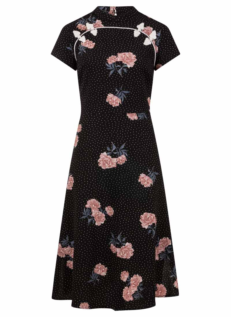Anna-May Black Oriental Floral Dress Product Front