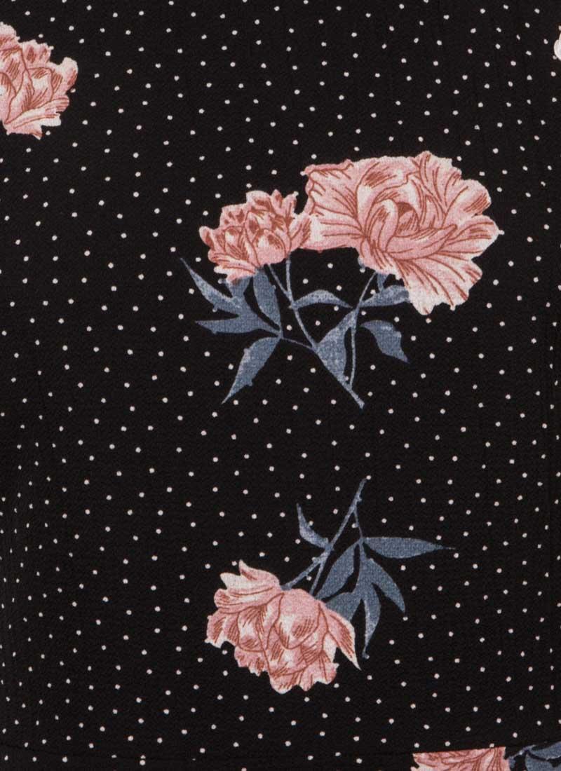 Anna-May Oriental Floral Dress - Black