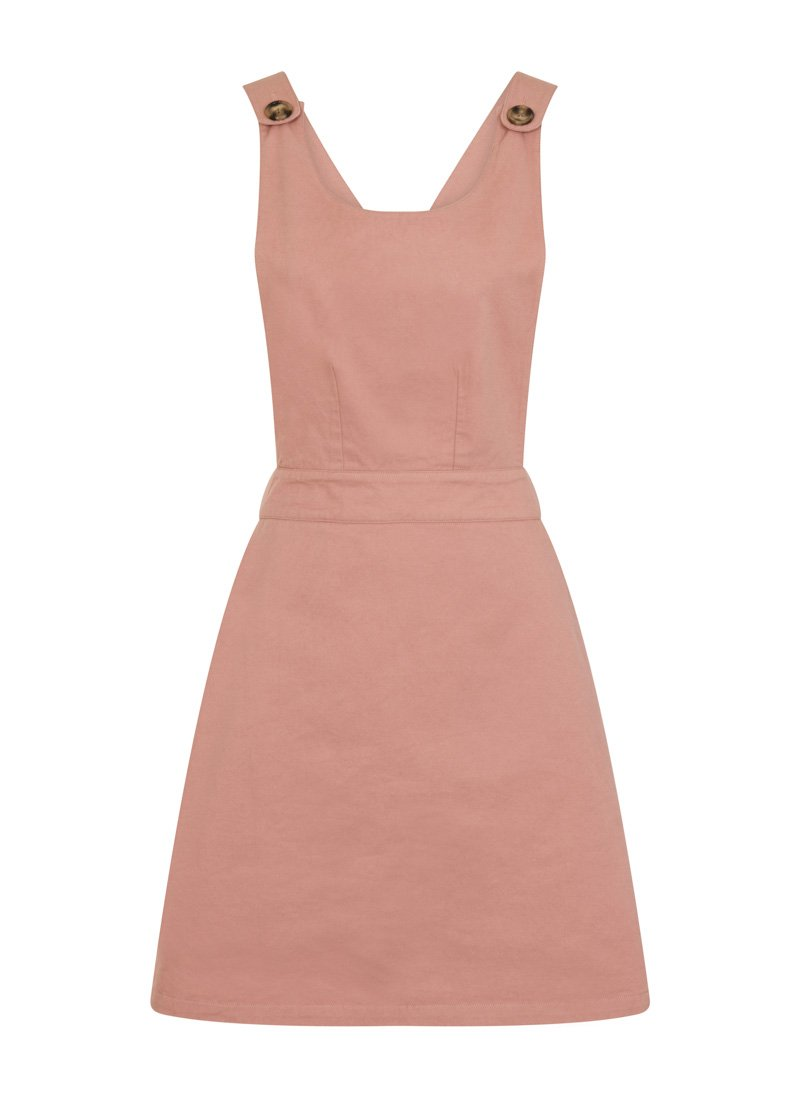 Apron Cotton Pinafore Pink Product Front