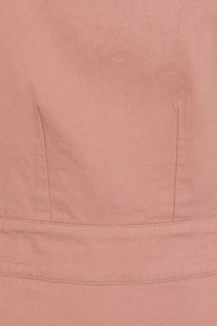 Apron Cotton Pinafore Dress - Pink