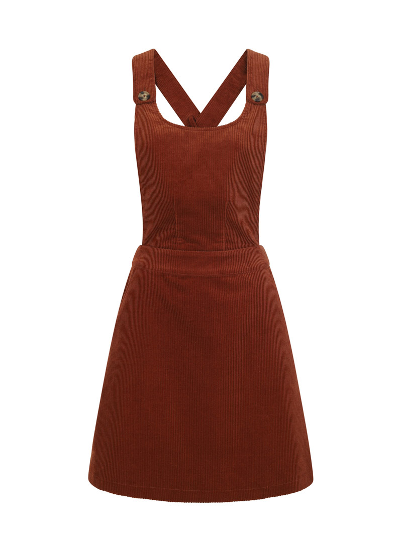 Apron Brown Cord Pinafore Dress