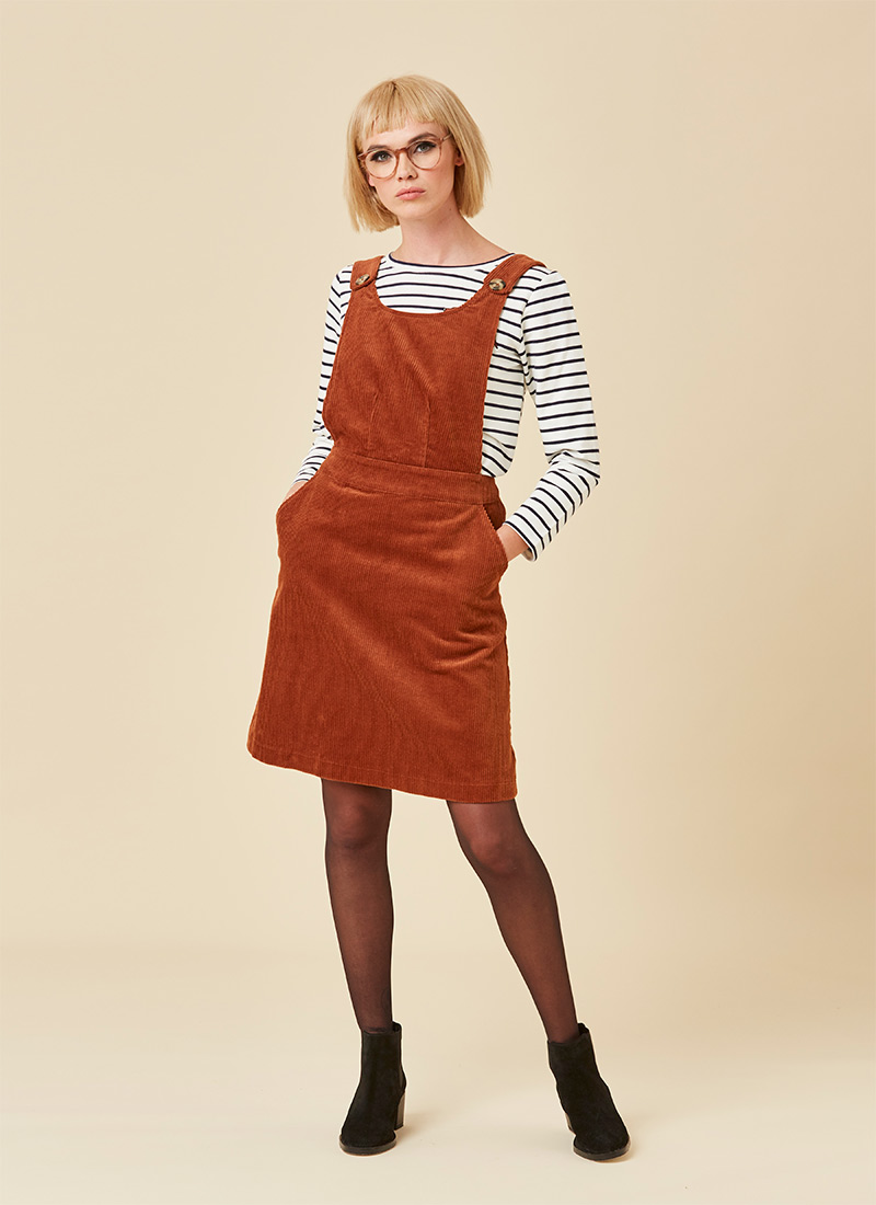 Apron Cord Pinafore Dress - Brown