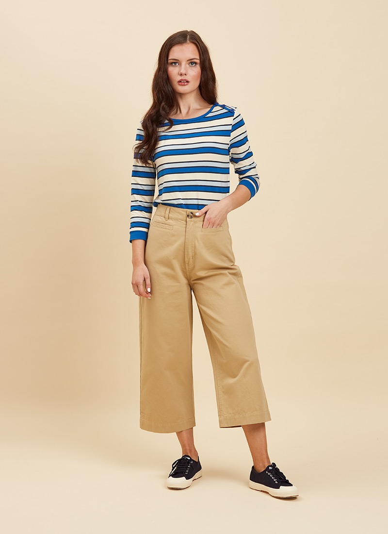 Dietrich Wide-Leg Crop Beige Trousers Full Front View