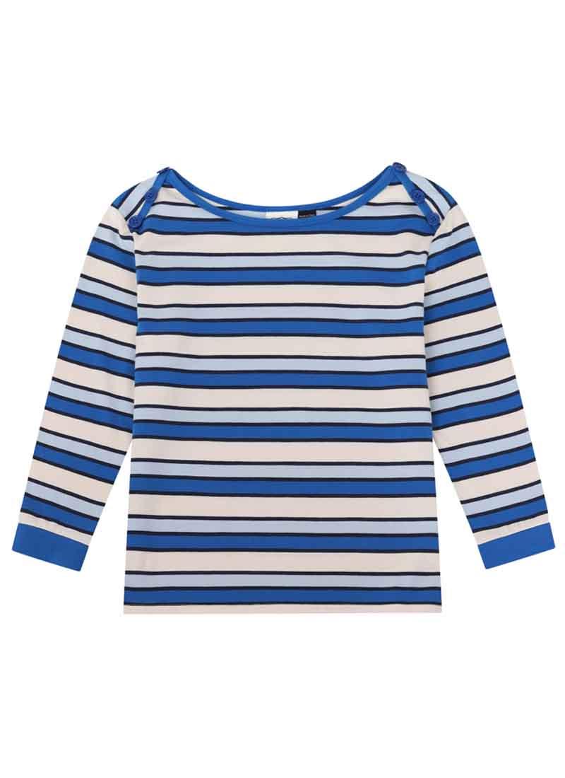Atilla Button Shoulder Stripe Top Blue Product Front