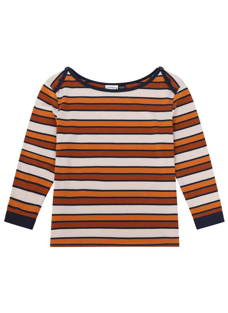 Atilla Button Shoulder Stripe Top Rust Product Front