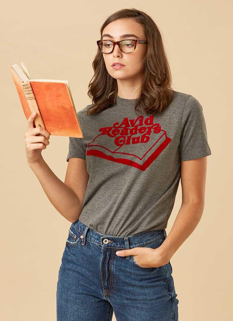 Austen Avid Readers Club Slogan Tee Model Front