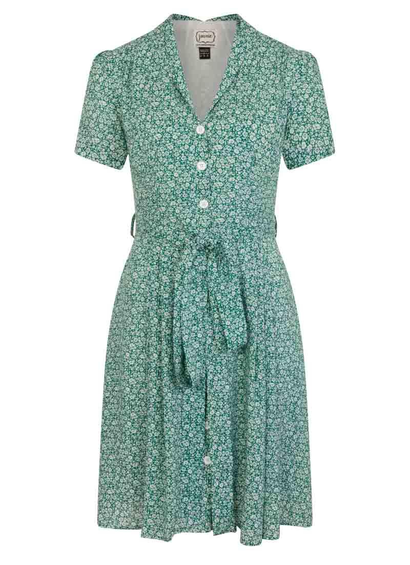 Barb Green Floral Button-Through Tie Waist Tea Dress Product Front
