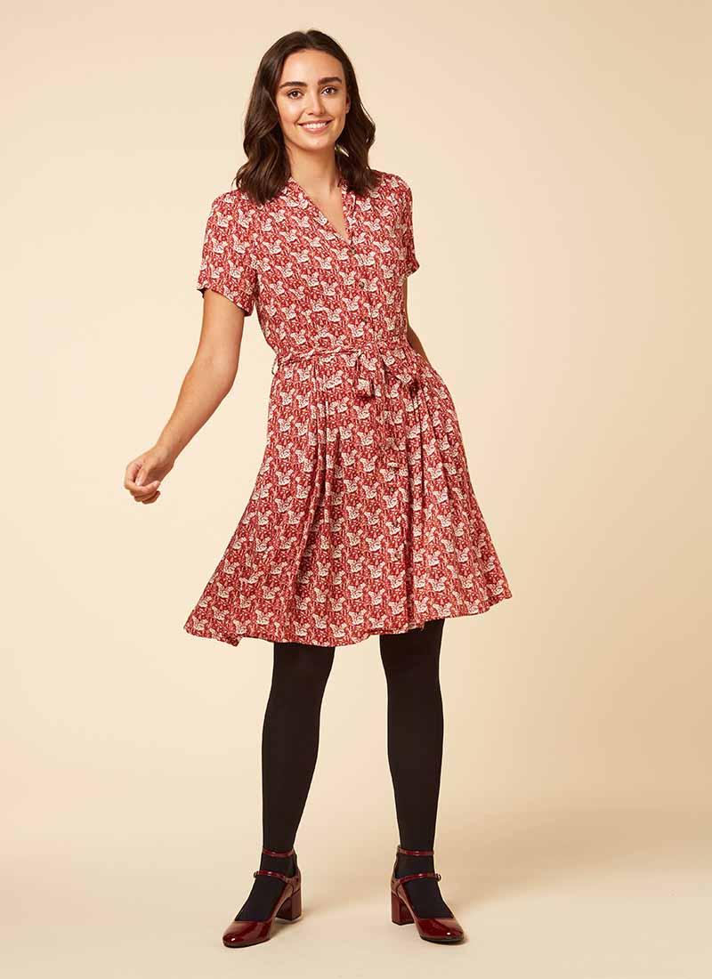 Barb Fox Print Tea Dress Model Full
