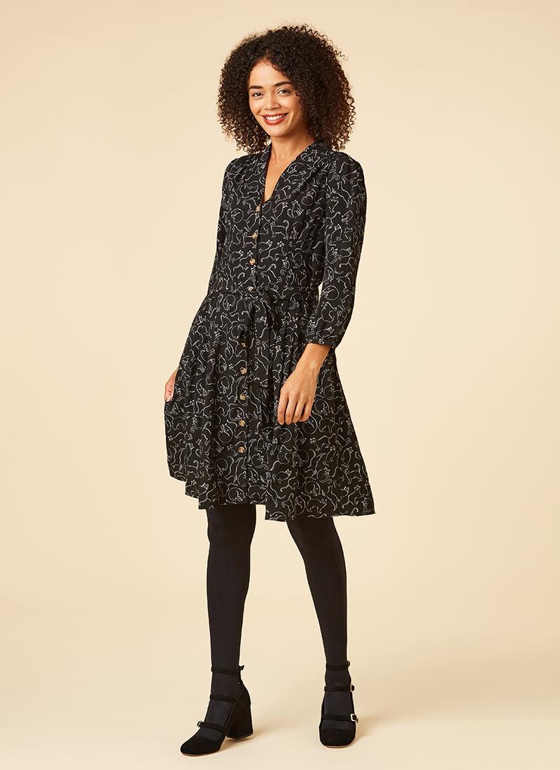 Barbara Cat Print Button-Through Shirt Dress Model Tights