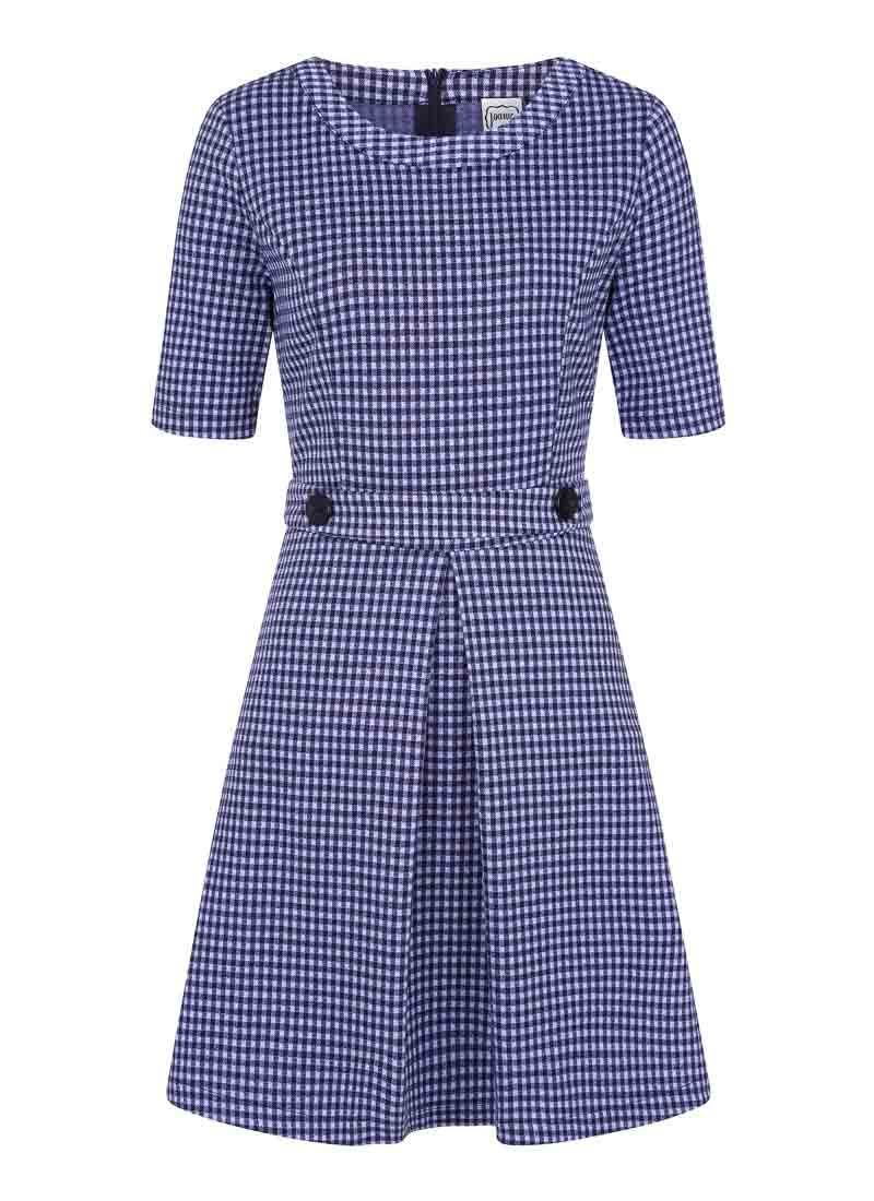 Basil Fitted Stretch Gingham Dress Blue Pockets Product Front