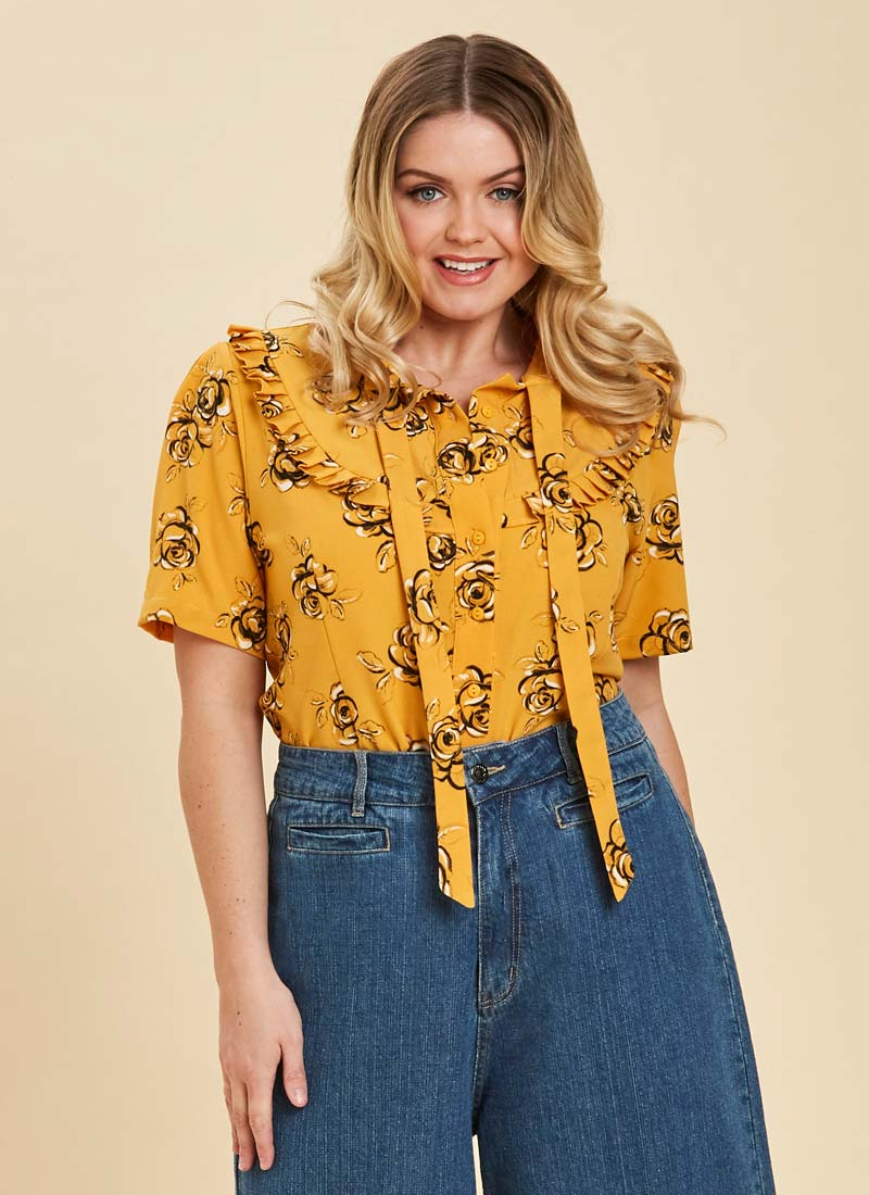 Beech Floral Frill Neck Blouse