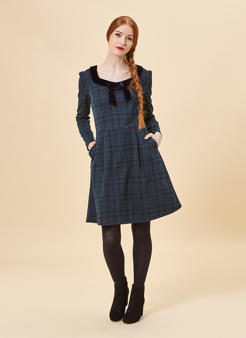 Betsey Tartan Velvet Bow Dress - Green
