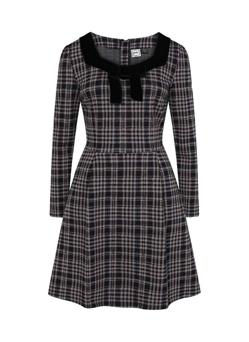 Betsey Tartan Velvet Bow Dress Grey Product Front