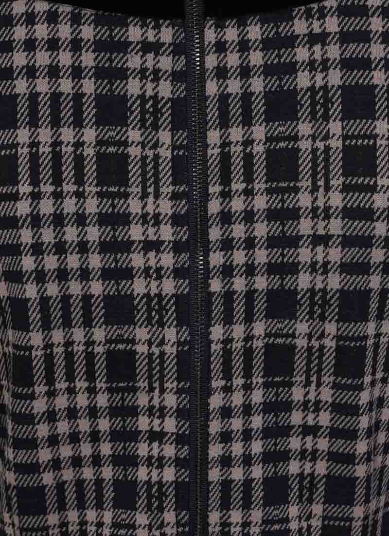 Betsey Tartan Velvet Bow Dress - Grey