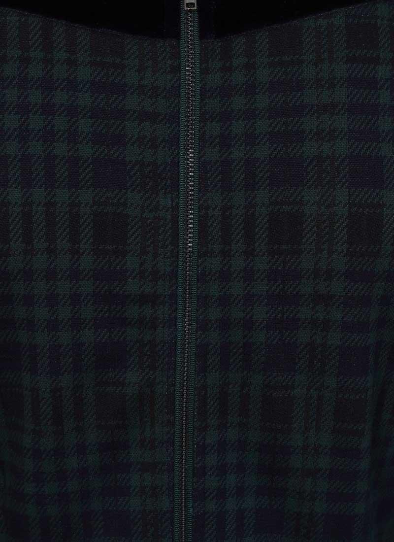 Betsey Tartan Velvet Bow Dress - Green