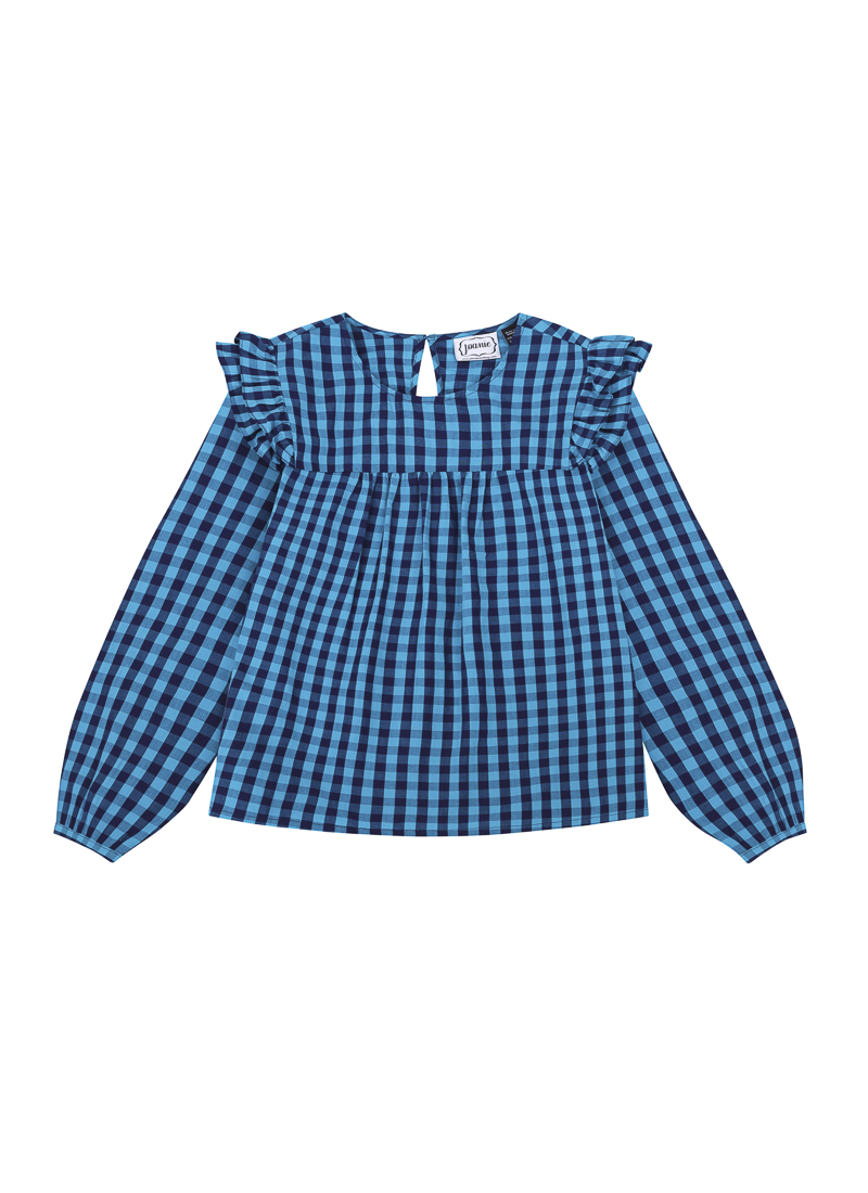 Bette Gingham Blue Blouse Product Front
