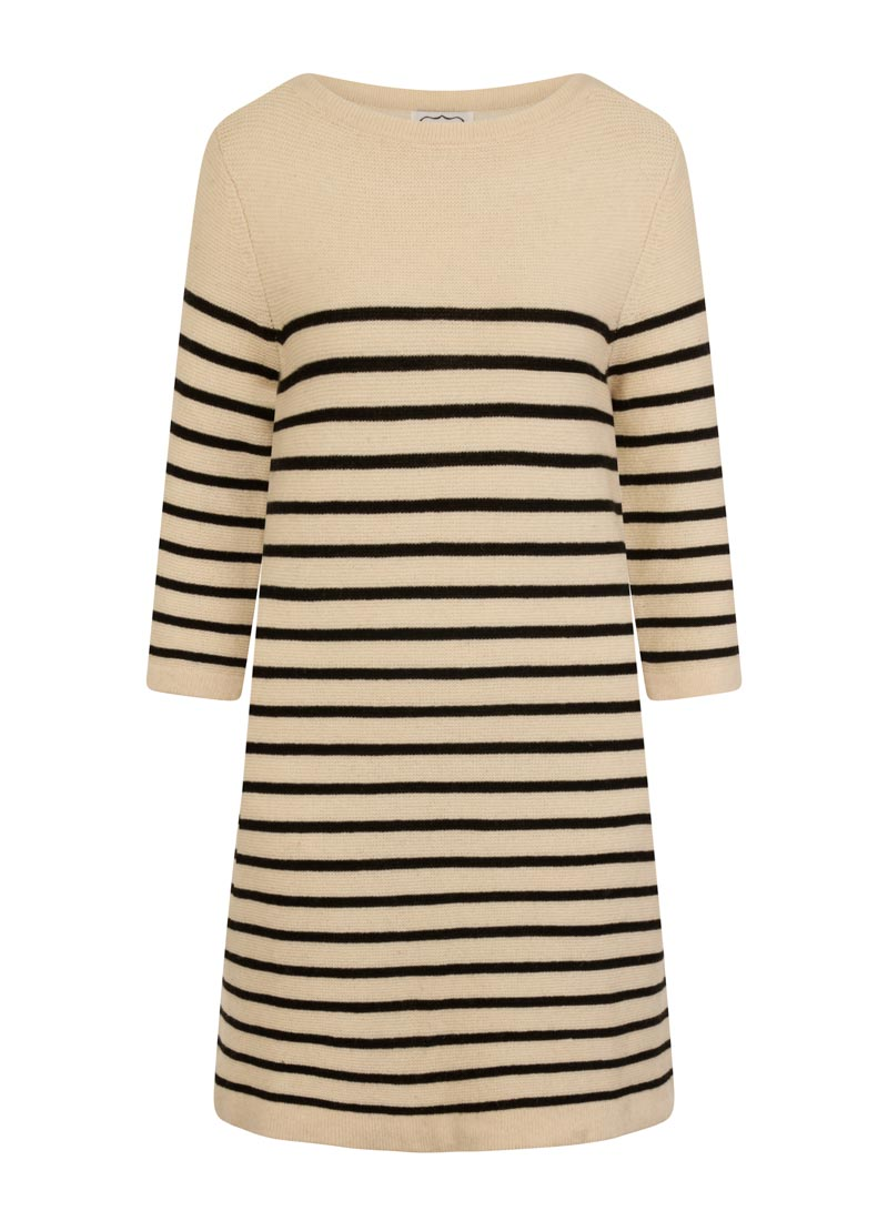 Blair Breton Stripe Jumper Dress Cream Product Front