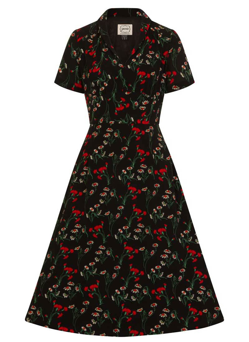 Cassidy Black Floral Tea Dress Product Front
