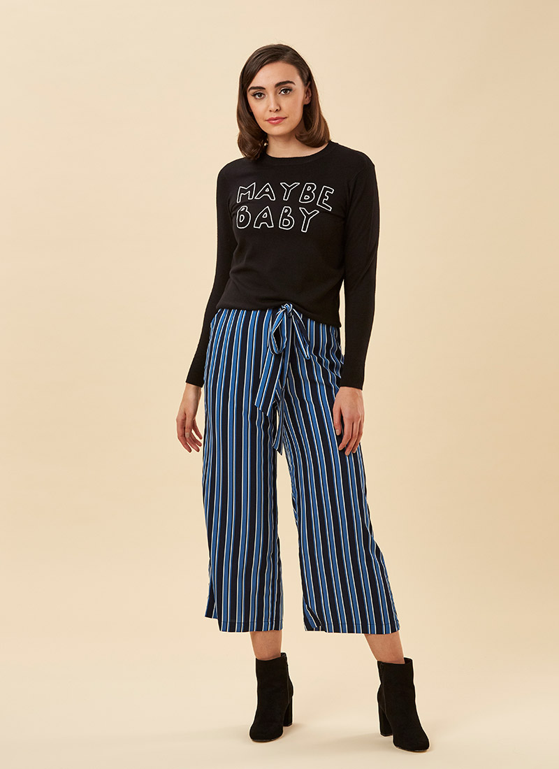 Chloe Blue Striped Culottes Model Front