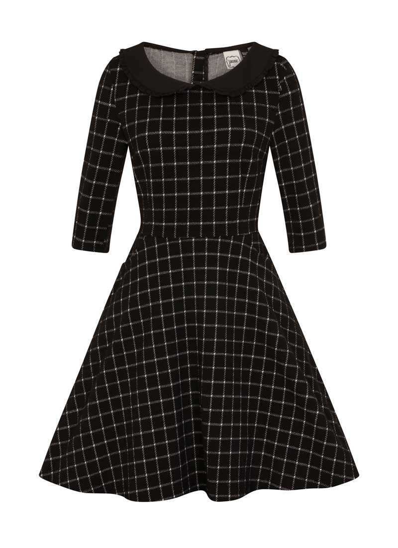 Clarisse Black Collar Check Dress Product Front