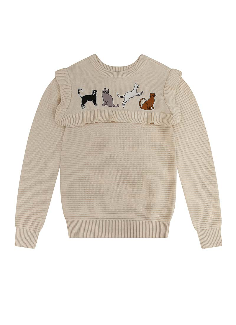 Claudia Cat Embroidered Frill Neck Jumper Product Front