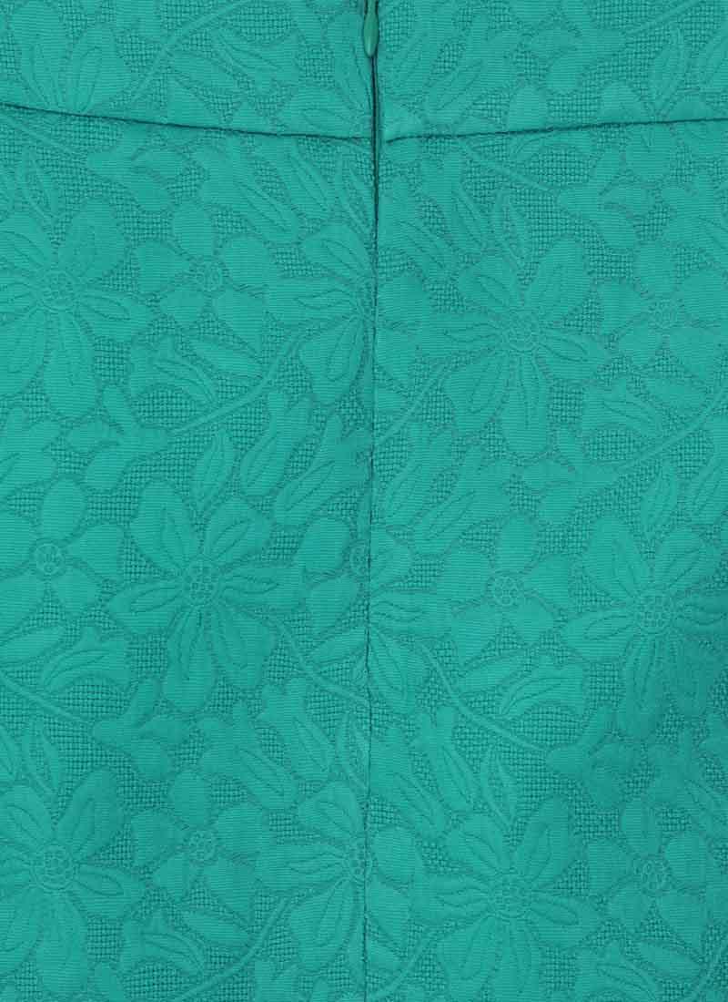 Colbert Jacquard Button A-line Skirt - Green
