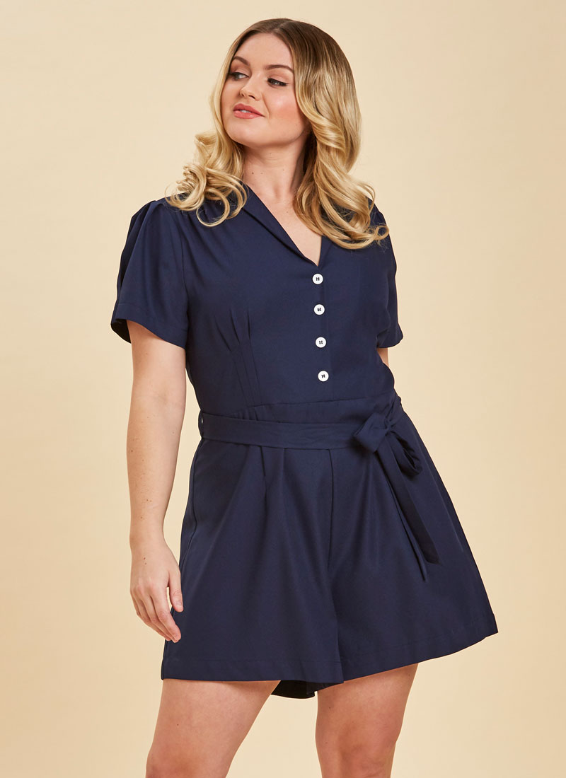 Columbo Tie Waist Navy Playsuit