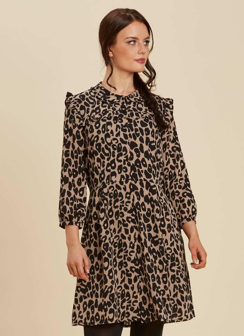 Corey Leopard Print Dress Model Close-Up