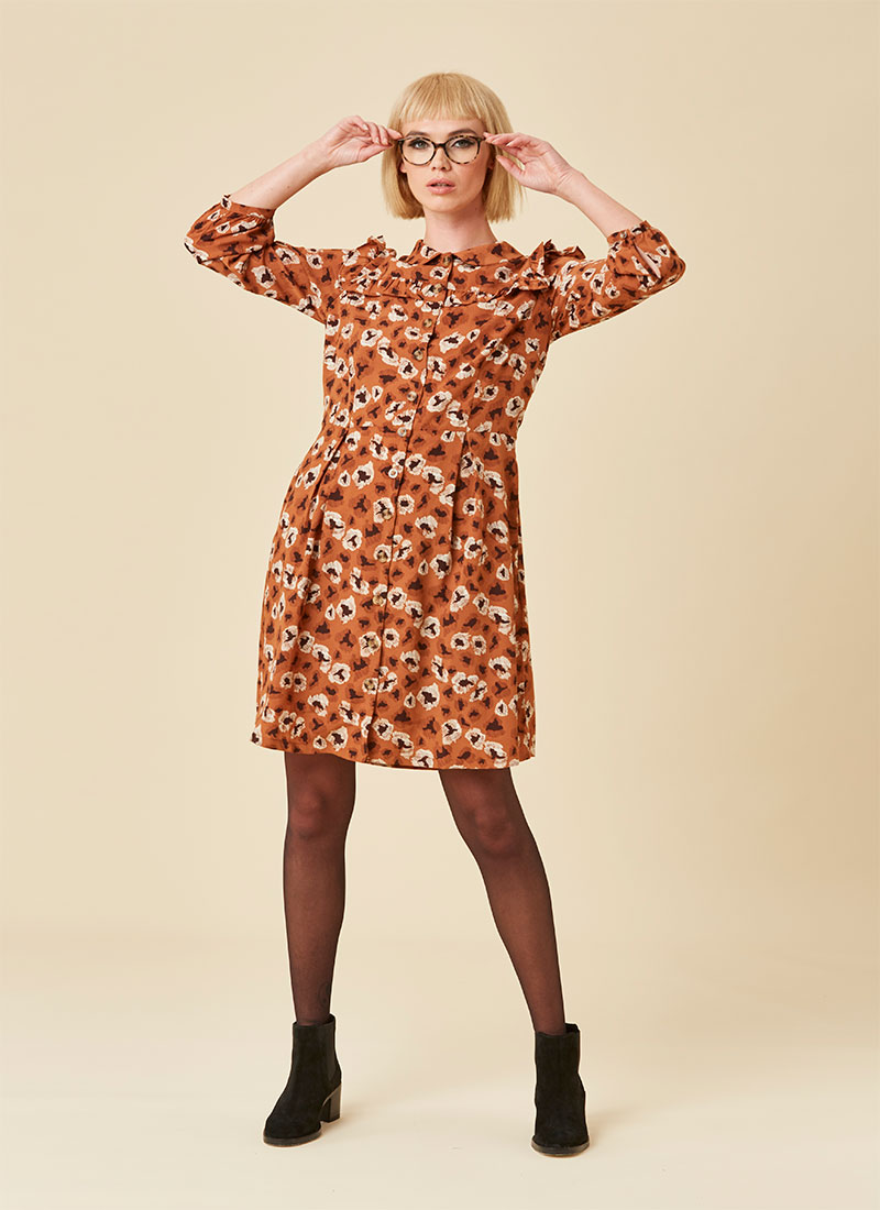Corey Caramel Leopard Print Shirt Dress Model
