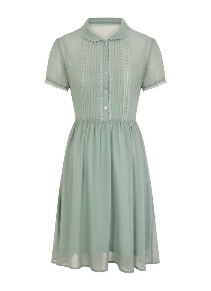 Courtney Ruffle Front Tea Dress Green Product Front