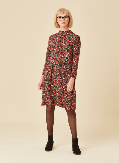 Adele High Neck Floral Print Dress Model Front