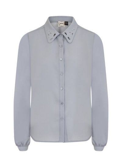 Ali Blue Detail Collar Blouse Product Front