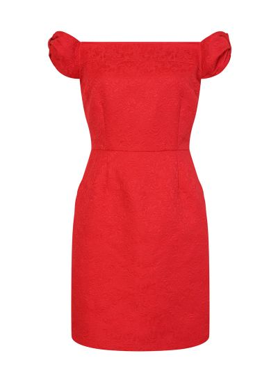 Anais Red Jaquard Bardot Dress Product Front
