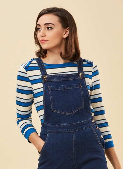 Atilla Button Shoulder Stripe Top Blue Model Close-Up