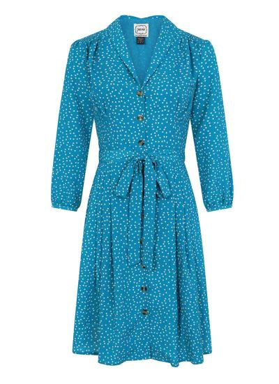 Barbara Polka Dot Button Through Dress Blue Product Front